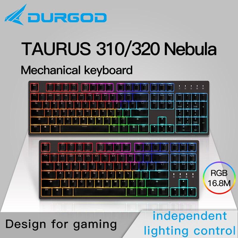Durgod 87 104 320 310 nebulosa rgb iluminação mecânica teclado cereja mx pbt doubleshot marrom azul preto prata vermelha silenciosa