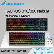 Durgod clavier déclairage mécanique double couleur rvb cerise mx pbt, couleur nébuleuse 87 104 320 310, marron, bleu, noir, silencieux, rouge/argent