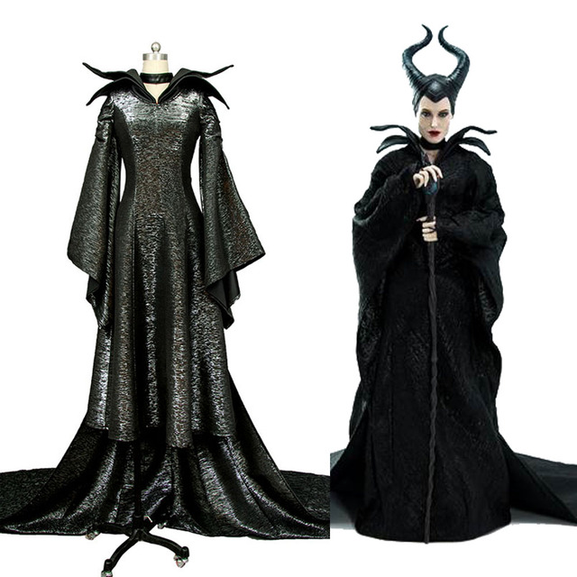 Movie Maleficent Angelina Jolie Cosplay Black Dress Costume Version