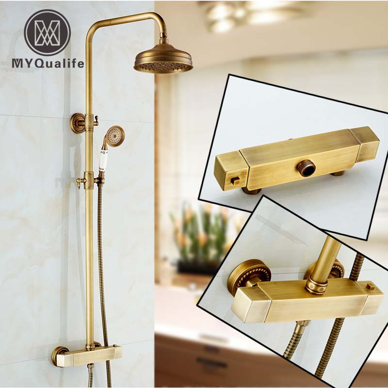 Dual Handle Antique Shower Faucet Wall Mounted Thermostatic mixer Valve Shower Set Bath Shower Column dual handle thermostatic faucet mixer tap copper shower faucet thermostatic mixing valve bathroom wall mounted shower faucets