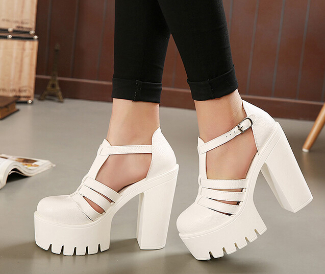 buckle black white sandals summer shoes platform sandals 2015 ...