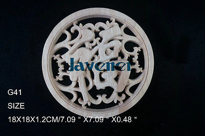 G41 -18x18x1.2cm Wood Carved Round Onlay Applique Unpainted Frame Door Decal Working Carpenter Fitment