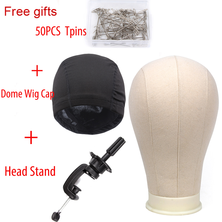Canvas Block Head With Stand 2pcs Wig Dome Wig Cap 50pcs Tpins Mannequin Head For Wigs Making Display Stand 21 22 23 24 25Canvas Block Head With Stand 2pcs Wig Dome Wig Cap 50pcs Tpins Mannequin Head For Wigs Making Display Stand 21 22 23 24 25