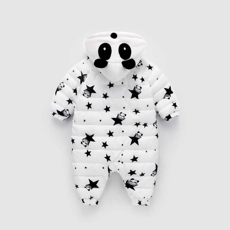 Зима Панда Детские ромперы комбинезоны комбинезон новорожденная девочка утка вниз зимний комбинезон для маленьких детей зимняя одежда