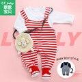 2 pçs/set Bebê Meninos Roupas Set Listrado Suspender Calças Camisas Brancas Do Bebê Conjuntos Roupa Da Menina Roupas de Menino Terno Newborn Outfit