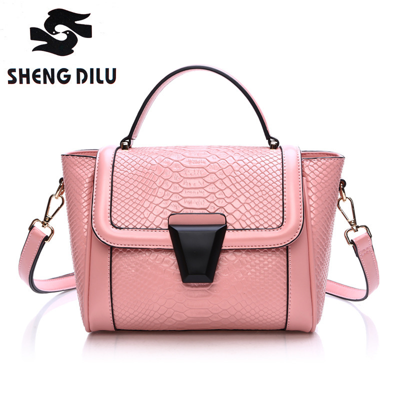 2016 Elegant Patchwork Genuine Leather Tote Bags Fashion Women Brand Luxury Crocodile Pattern Handbags elegant crocodile pattern fashion women backpacks multipurpose solid genuine leather bags