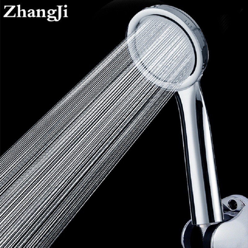 ZhangJi ultrafino acabado cromado ducha del ahorro del agua de alta presión de mano ronda boquilla duche cabezal de la ducha
