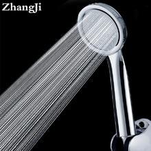 ZhangJi Ultrathin Chrome Finish Water Saving Shower Heads High Pressure Hand Held Round Spray nozzle duche Head
