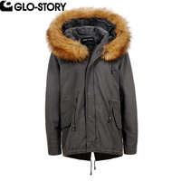 GLO STORY Woman Cotton Fur Hooded Winter Parkas Women 2017 Wool Liner Thick Loose Autumn And