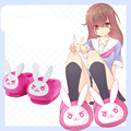 Kawaii Anime OW D.va Bunny Cute Indoor Slippers Warm Soft Shoes Plush Antiskid Home