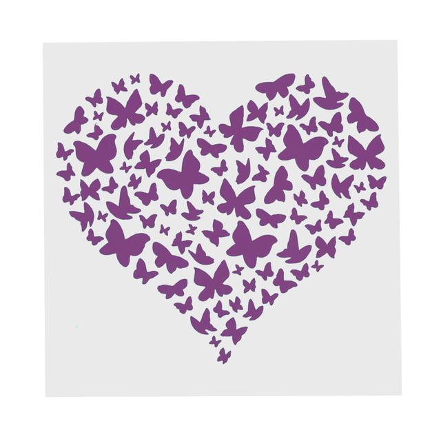 13 cm Butterfly Heart Stencil for Painting DIY Scrapbooking