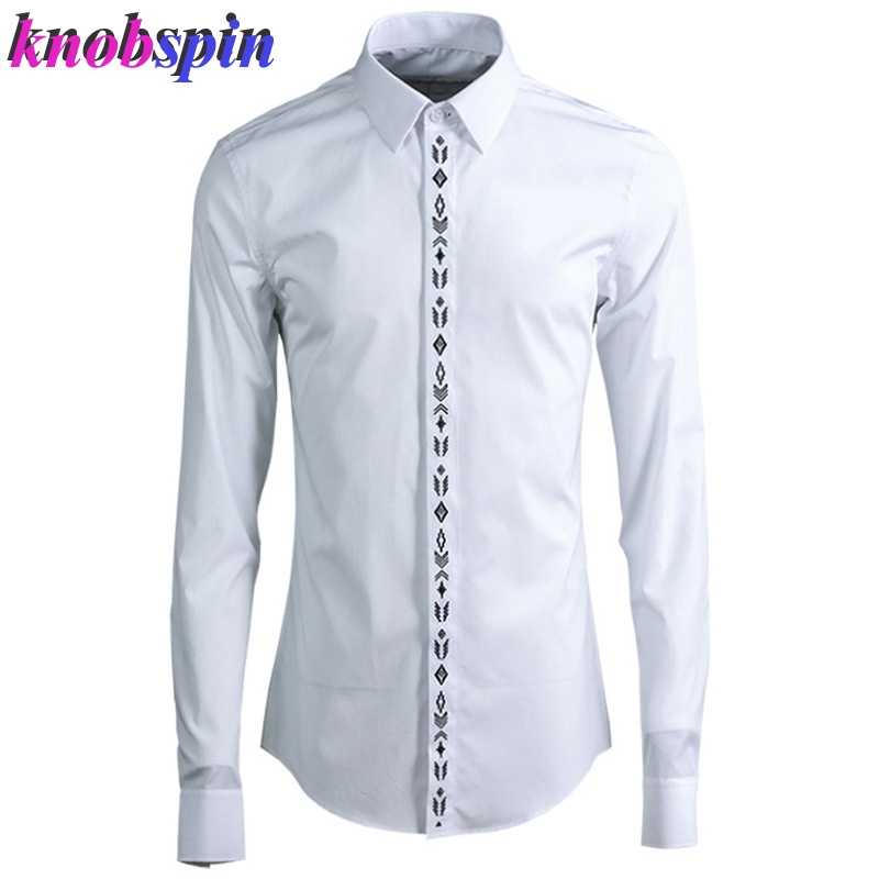 80% Cotton Business Men Shirt 2019 Fashion Geometric Pattern Embroidery Solid Color Chemise Homme Long Sleeve Slim Casual Shirts