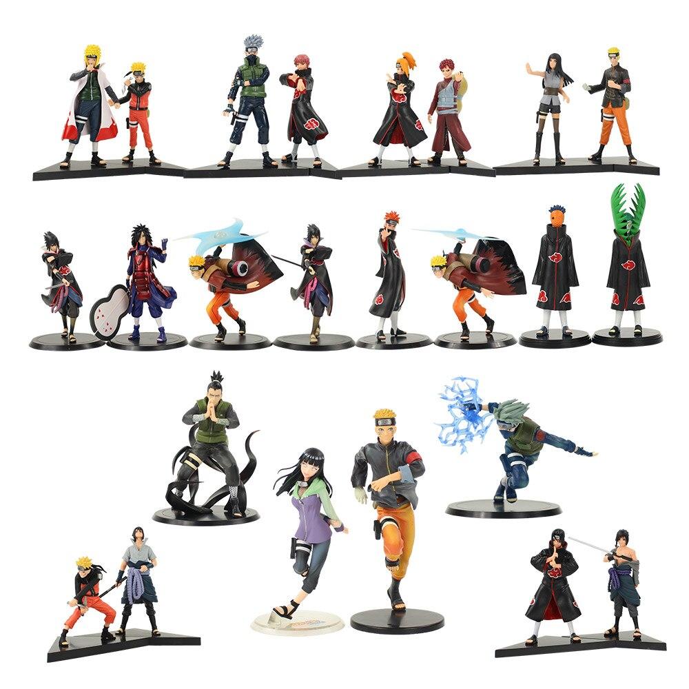 2pcs Naruto Figures Sasuke Kakashi Shikamaru Hinata Madara Gaara Pain Itachi Minato Kurama Sasori Deidara Akatsuki Model Toys(China)