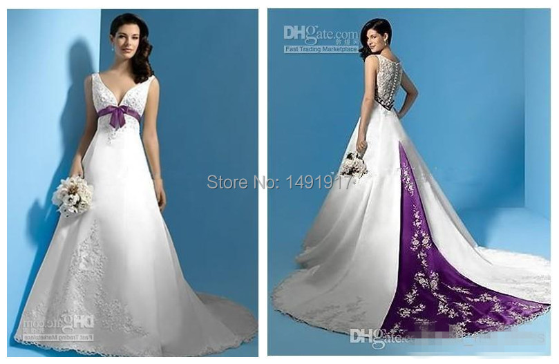 New White And Purple Sashes Princess 2015 A Line Wedding Dresses Satin Appliques Handmade W2220