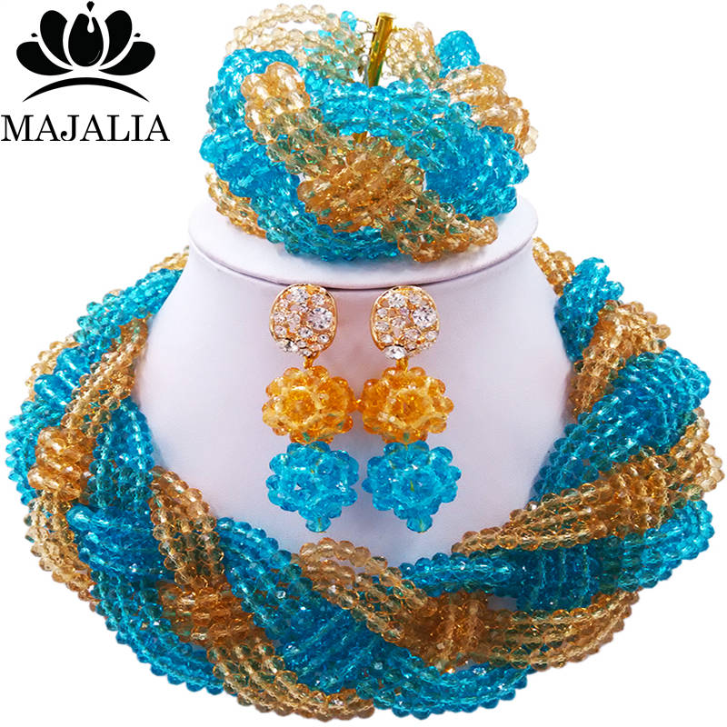 Majalia African Fashion Women Jewelry Set Lake blue gold champagne Nigerian Wedding Jewelry Beaded Sets 12CB0014 majalia african fashion women jewelry set royal blue nigerian wedding jewelry beaded sets 12cb006