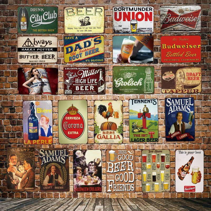 [ DecorMan ] Beer wall whisky Posters Custom wholesale Metal Sign Paintings Bar PUB Home Decor HY-1727