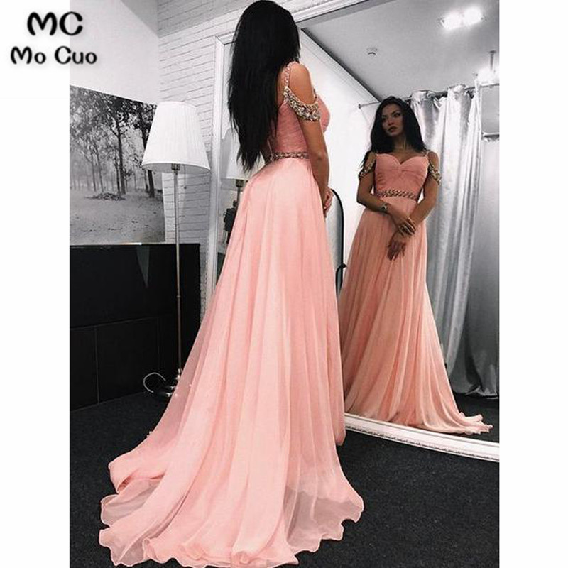 2019 Blush Pink Elegant Evening Dresses Long Spaghetti Straps Sweetheart Pleat Tulle Formal Evening Party Dress