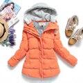 ¡ VENTA CALIENTE! 2016 Nuevo medio-largo encapuchado delgado engrosamiento chaqueta de algodón acolchado cálido abrigo de invierno de algodón acolchado abrigos de las mujeres femeninas