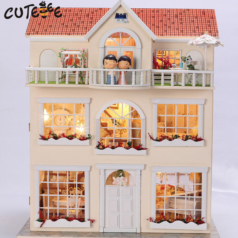 CUTEBEE Doll House Miniature DIY Dollhouse With Furnitures Wooden House Toys For Children Birthday Gift 3812 cutebee doll house miniature diy dollhouse with furnitures wooden house toys for children birthday gift best tours a 027