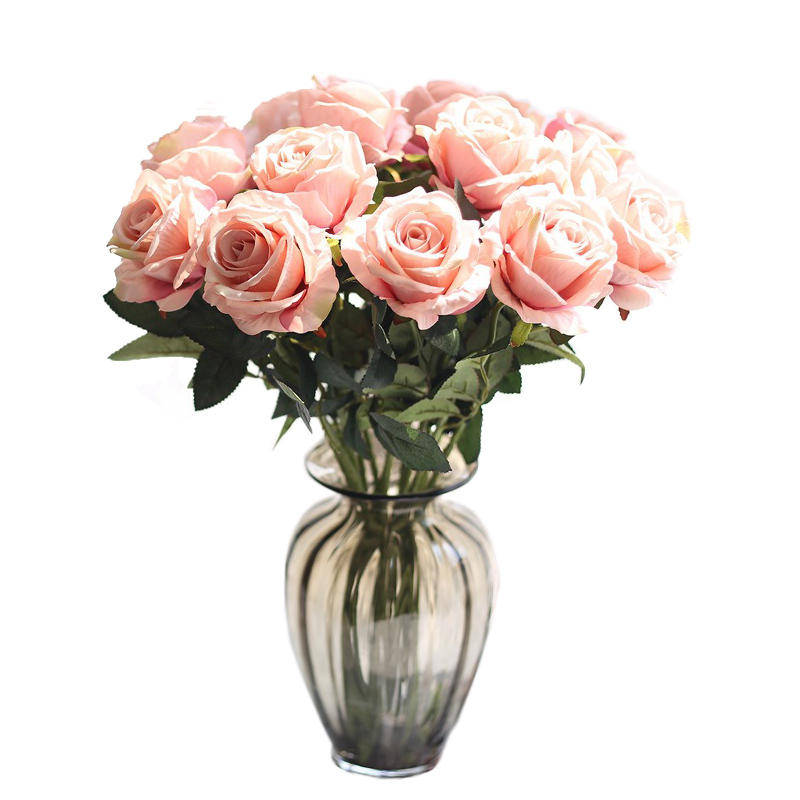 Image 5 - rose silk flowers wedding flowers real touch roses artificial the flowers flores Bouquet Fake vase Flower Home Party Decoration-in Artificial & Dried Flowers from Home & Garden