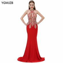 Lange Rote Abendkleider 2017 Meerjungfrau Halter Sleeveless Gold Appliques Perlen Chiffon Abendkleid Vestido De Festa