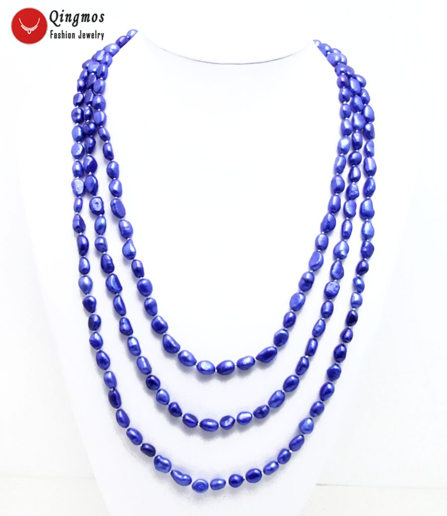 Trendy 80'' Natural Pearl Necklace for Women with 7-9mm Blue Baroque Freshwater Pearl Long Sweater Necklace Fine Jewelry-nec6456 trendy layered rhinestone faux pearl necklace for women