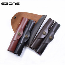 EZONE Handmade Genuine Leather Pencil Bags Cowhide Fountain Pen Case Cover Sleeve Pouch Office School Supplies Stationery