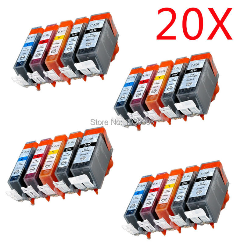 20 X W/Chip PGI520 CLI521 Compatible <font><b>ink</b></font> <font><b>cartridge</b></font> For <font><b>canon</b></font> MP620 /MP620B / MP628 / MP638 / <font><b>MP630</b></font> printer image