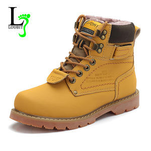 Image 1 - 2020 Mens Winter Snow Boots With Fur Rubber Ankle Boots Cow Split Leather Shoes High Quality Men Outdoor Work Shoe Plus Size 46