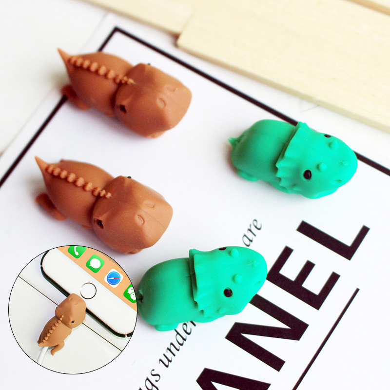 1pc Creativity Dinosaur  Cable Bite Protector For Phone Cable Winder Phone Holder  Accessories Funny Organizer Model