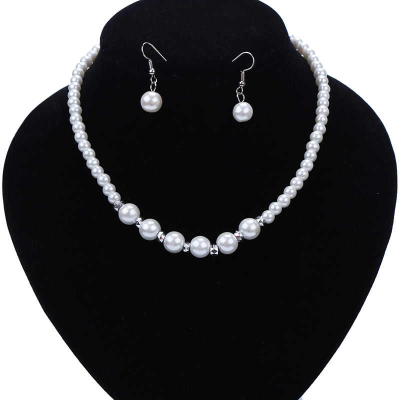 N117 Fashion Classic Imitation Pearl Necklace Earring For Women Charm Jewelry Set Bride Wedding Jewelry Sets Earrings & Necklace