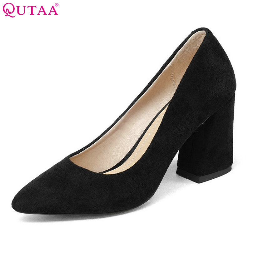 QUTAA 2018 Women Summer Shoes Flock Square High Heel Platform Woman Pumps Slip On Black Gray Ladies Wedding Shoes Size 34-43 xiaying smile summer new woman sandals platform women pumps buckle strap high square heel fashion casual flock lady women shoes page 9