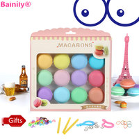 Bainily 12pcs Set Colorful Macaron Crystal Slime Toys DIY Squishy Plasticine Blowing Bubbles Mud Anti