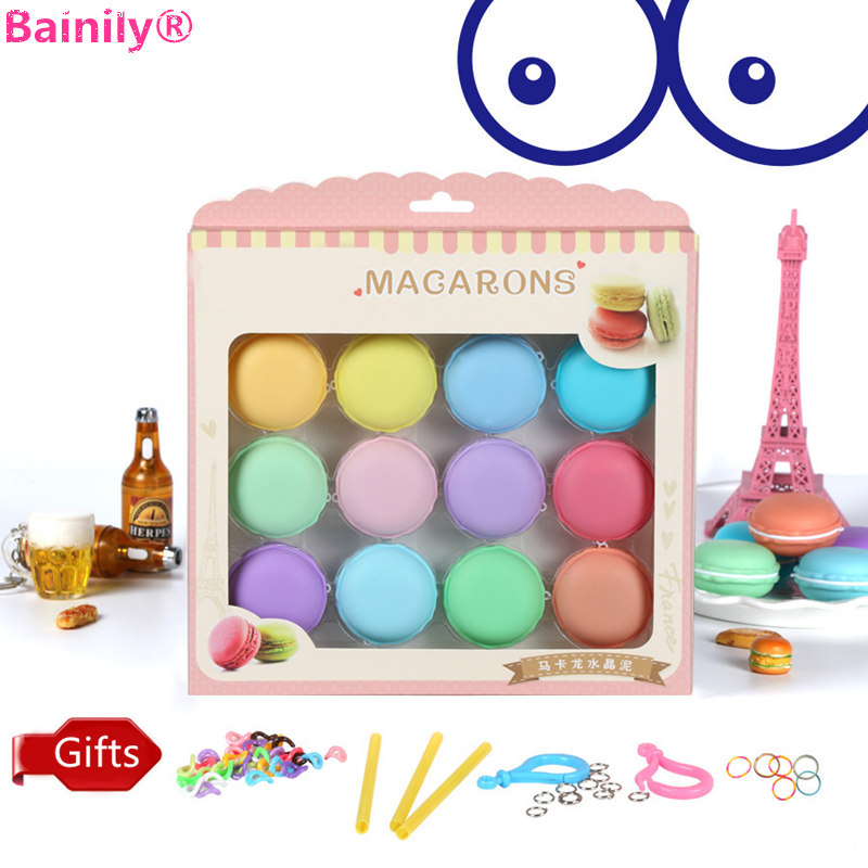 [Bainily] 12pcs/set Colorful Macaron Crystal Slime Toys DIY Squishy Plasticine Blowing Bubbles Mud Anti-stress Funny Kids Gift