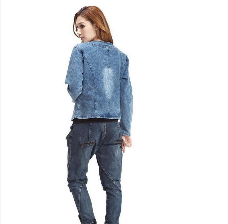 Plus Size 4XL jeans jacket women Denim Patchwork Outwear Jeans Coat For Women Retro Long-sleeved Jeans Rivets Jacket  W493 1