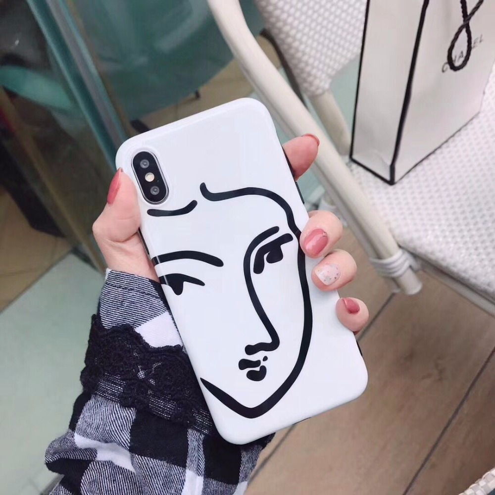 Geometric Soft Silicone Mobile Phone Cases For iPhone7 7Plus Bright Plastic Face Lines Draw Cellphone Back Covers Coque Funda
