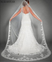 2019 3M Lace Edge Cathedral Veil For Bride One Layer Wedding Accessories Ivory White Appliqued Wedding Veil Veu de Noiva