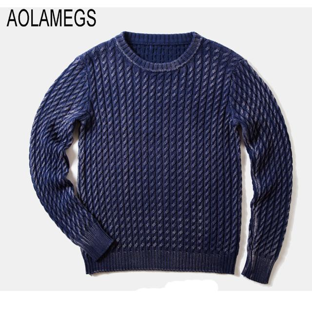 Aolamegs Hombres Knitting Pullover Sweater Moda Casual Color Sólido 2016 de Otoño de la Alta Calidad Simple Wild O-cuello Suéteres de Punto