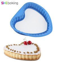 Shebaking Heart Baking Mold Silicone Cake Mould with Glass Base Non-Stick Fondant Chocolate DIY Patry Tools