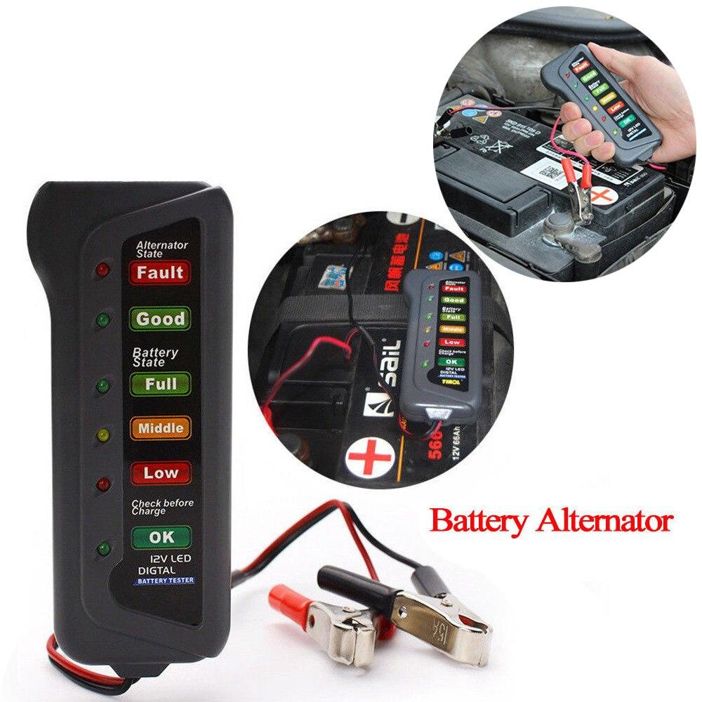 Friendly 12v Digital Battery Alternator Tester Car Vehicle Diagnostic Tool With 6 Led Lights Display Battery Testers For Car Motor #20