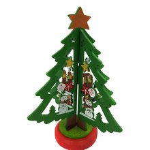 cute mini christmas tree with ornament wooden diy tiny christmas decorations for home kids gift xmas supplies 14cm - Tiny Christmas Tree