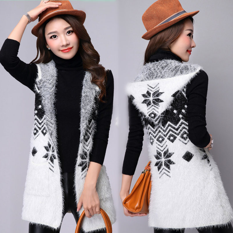 Spring And Autumn And Winter Hippocampus Wool Cardigan Sweater Coat Women Long Section Of Loose Knit Shawl Hooded Vest Ms. TB849