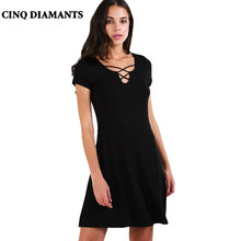 CINQ DIAMANTS Women Summer Black Dress Sundress Casual Mini Dress Short  Sleeve Dress Robe Femme Vestido Negro jurk e8884fa002a9
