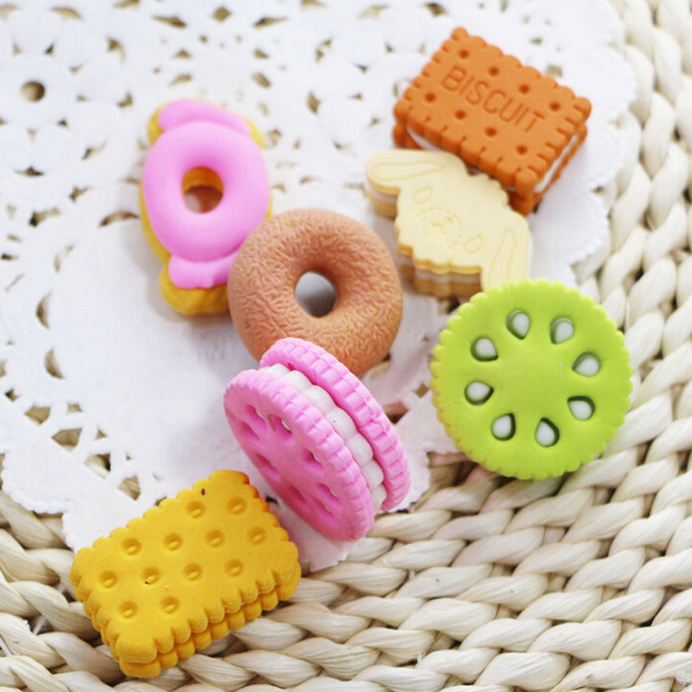 Student Supplies 1pcs  Novelty Food Eraser Cute Rubber Doughnut Cream Biscuit Party Bag Gift