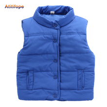 Фотография Autumn winter boy girl vest waistcoat cotton warm baby red orange blue solid color coat Waichuan vest for 2-6 years
