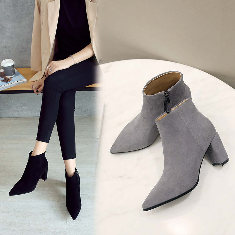 RYVBA Women suede Genuine leather pointed toe Ankle boots womens Autumn winter boots 2018 Woman fashion square high heels shoes 6