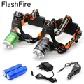 1 set CREE XM-L T6 Zoomable focus waterproof 3 modes head lamp head light head band light + 2 x 18650 + charger + car charger