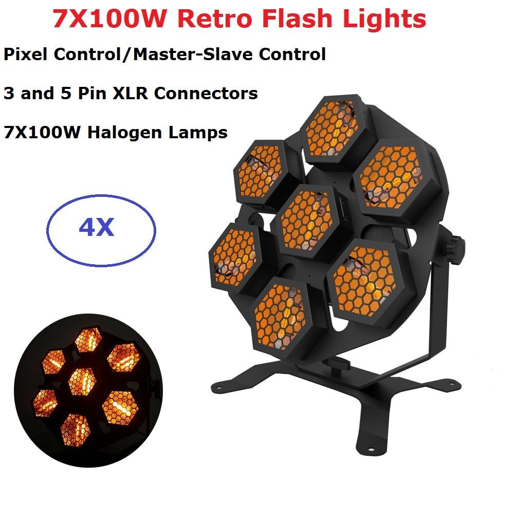 Professional Stage Wash Effect Lights High Power 7X100W Halogen Lamps Retro Flash Lights DMX Transport Lights Dj Lamp Disco Par