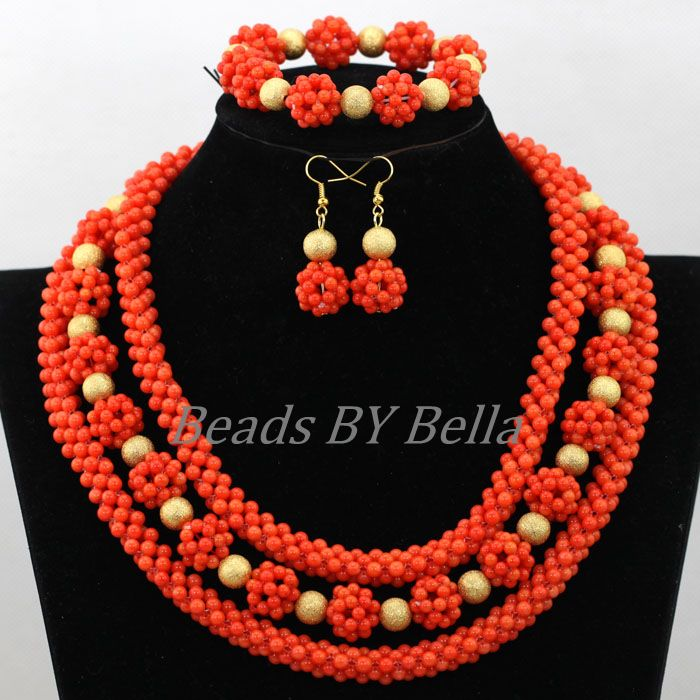 Handmade Orange Coral Beads Bridal Jewelry Sets Nigerian Beaded Necklaces Sets African Wedding Jewelry Set Free Shipping ABK062 цена