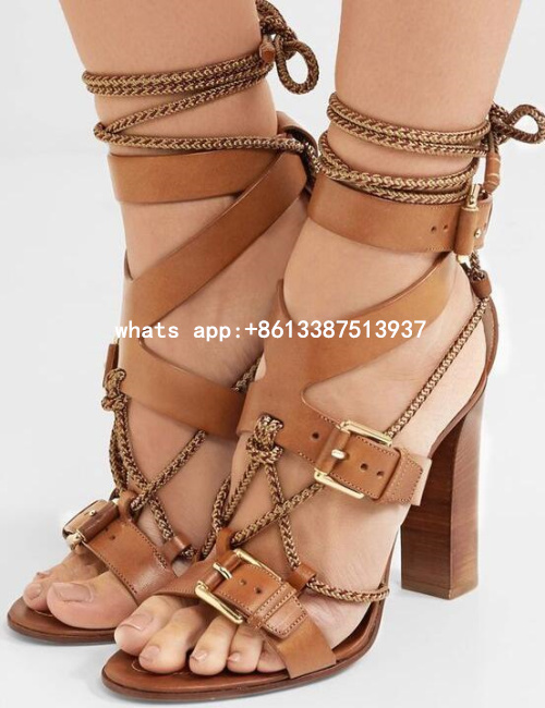 Newest 2017 Summer Women Sexy Brown Color Buckles Open Toe Gladiator Cuts Out Rough Heels Lace Up High Heel Sandals Dress Shoes
